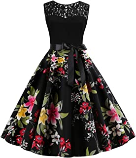 Midi Dress for Women,Colorful(TM) Ladies Summer Sleeveless Vintage 1950S Lace Splice Floral Print Cocktail Evening Swing Party Dress A Line Elegant Dress
