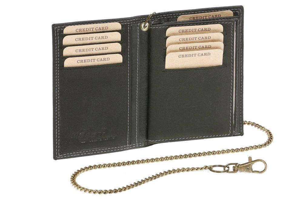 LEAS MCL Biker-Kreditkarten- und Ausweismappe mit Kette Vintage-Stil in Echt-Leder, schwarz - LEAS Chain-Series LE3-26-1000-K
