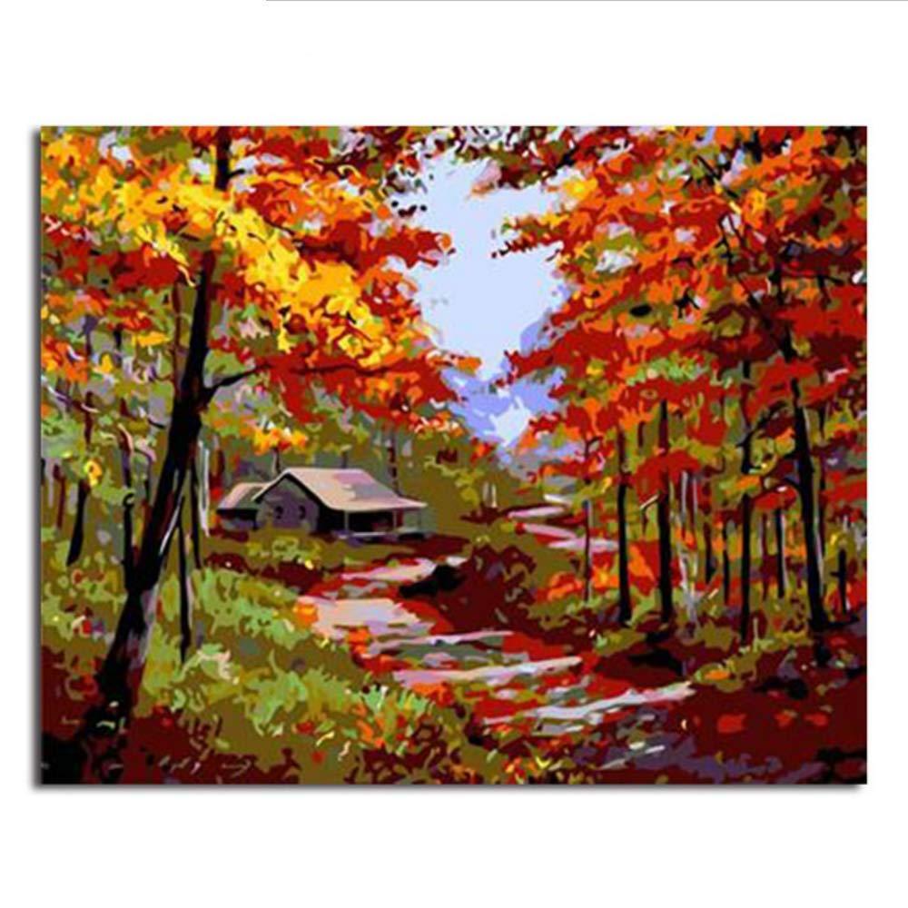 Waofe  Gerahmte Bilder Malen Nach Zahlen Landschaft Handarbeit Leinwand Ölgemälde Wohnkultur Für Wohnzimmer B07PMX2VMZ | Ästhetisches Aussehen