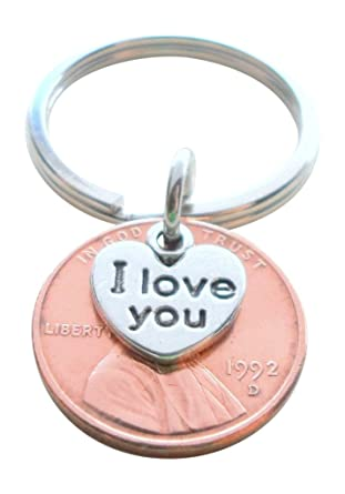 Amazon I Love You Heart Charm Layered Over 1992 Us One Cent