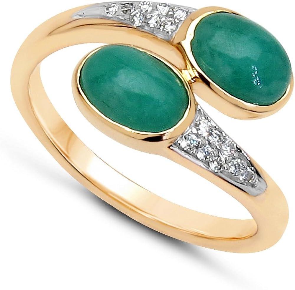 Jaipuri.Instyle by Tricolour - Anillo de mujer - oro amarillo 585/1000 - auténtico piedras preciosas: Emerald ca. 2.14ct. - R18076EWD_14KYG