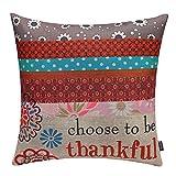 TRENDIN 18'' X 18'' Vintage Colorful Boho Geometric Flower Thanksgiving Cotton Linen Throw Pillow Case Cushion Cover Home Decoration (PL038TR)