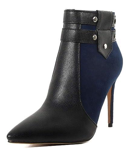 Easemax Femme Original Stiletto High Heel Bout Pointu Low Boots Bottines  Bleu 32 EU 9f70662c6829