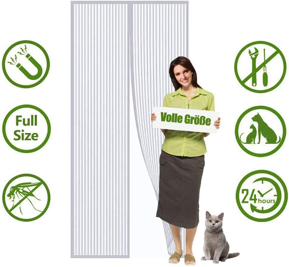 White Flei Screen Doors 70x180cm Magnetic adsorption Foldable Easy to open and close for living room//patio door Premium Magnet Curtain