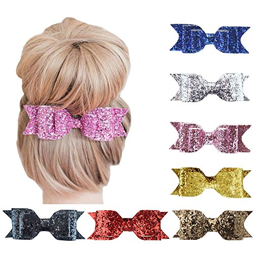 Habbiee 7 Packs Glitter Sequin Big Hair Bow Hair Clips Barrettes Accessory For Girls and Women (Assorted)