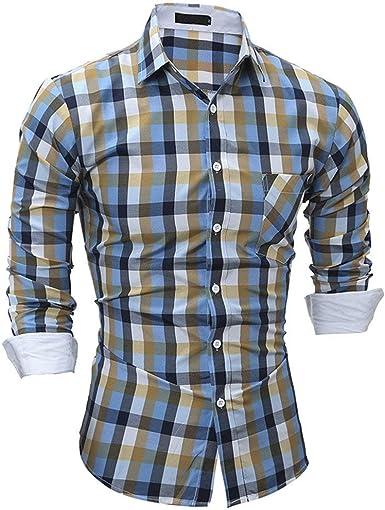 Camisa Larga para con Camisa De Hombre Ocio Simple Estilo Cuadros Camisa Slim Fit Business Camisa De Cuello Alto En Color Sólido Camisa Transpirable Suave Y Confortable M: Amazon.es: Ropa y accesorios