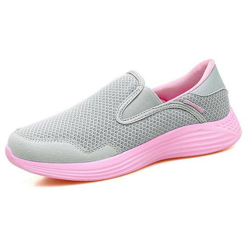 Zapatos de mujer de malla primavera verano otoño alpargatas pisos zapatos de caminar tacón plano de mediana edad y vieja entresuela de la PU zapatos casuales (Color : 01, tamaño : 41) 41|01