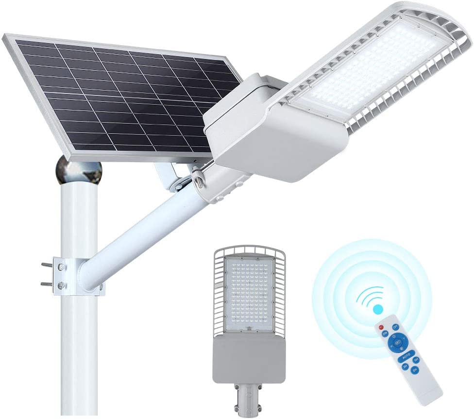 120W Solar Street Flood Light, Outdoor Street Light, Dusk to Dawn Solar Led Outdoor Light with Remote Control, IP65 Waterproof, Ideal for Yard, Garden, Parking lot, Street, 6500K/Cool White