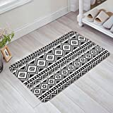 OneHoney Black White Ethnic Tribal Navajo Pattern,Abstract Geometric Non-Slip Indoor/Outdoor/Front Door/Bathroom Mats 18'' x 30''