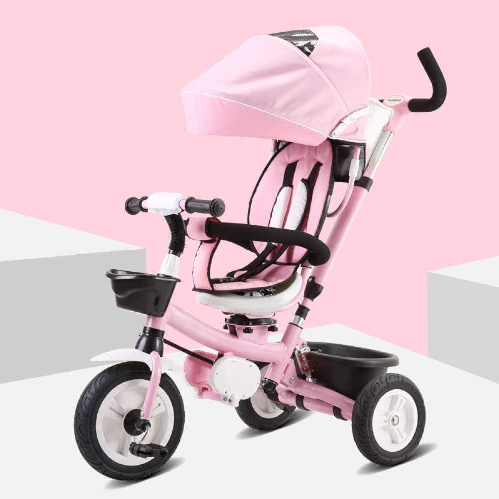 4 In 1子供用ハンドプッシュ三輪車5か月から5年3点式安全ベルト子供用三輪車折りたたみ式サンキャノピーブレーキ付き後輪子供用ペダル三輪車最大重量25 Kg,Pink