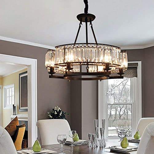 25″ Vintage Round Crystal Chandelier Flush Mount Ceiling Light 6-Light Island Pendant Lighting Fixture Black Ceiling Chandelier