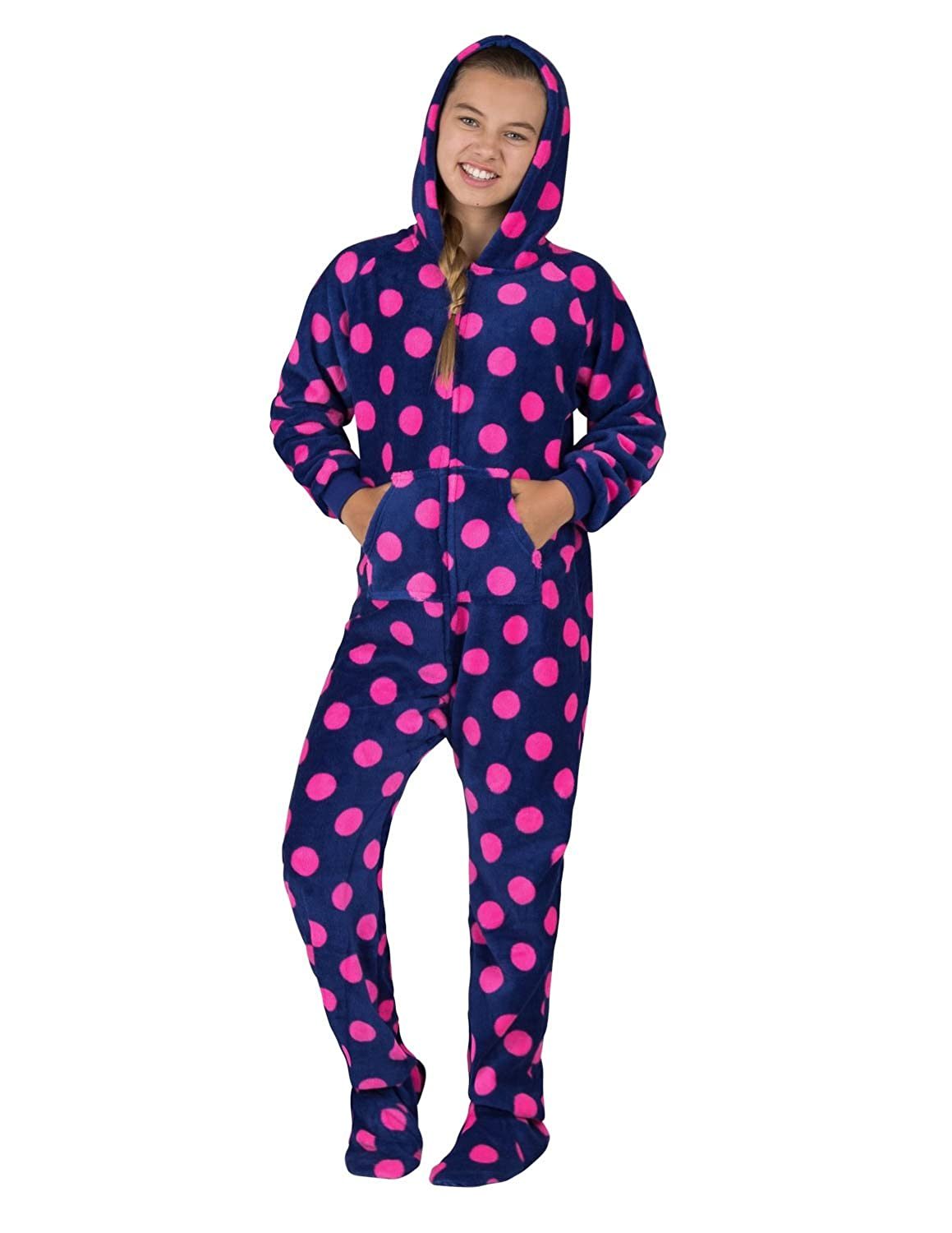 Footed Pajamas Navy Pink Polka Kids Hoodie Chenille