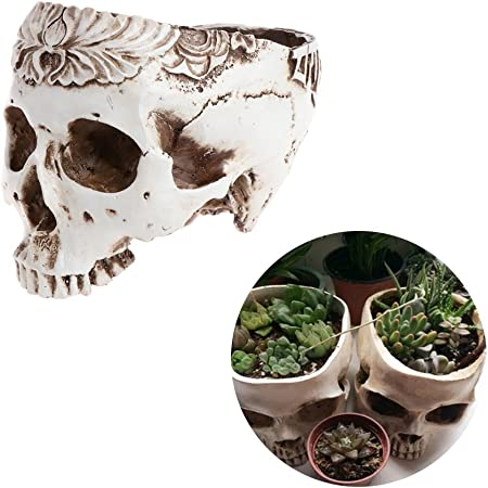 Skull Garden Planter Storage Pots Container Flower Pot For Home Decor Antique