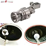 AllExtreme EXSWVUS Turbo Sound Car Silencer Whistle Exhaust Pipe Blowoff Valve Simulator for Universal Cars (Silver, Medium Size)