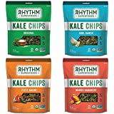 Rhythm Superfoods Kale Chips, Variety Pack, Original/Zesty Nacho/Kool Ranch/Mango Habanero, Organic and Non-GMO, 2 Oz (Pack of 4), Vegan/Gluten-Free Superfood Snacks