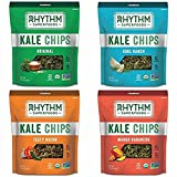 Rhythm Superfoods Kale Chips, Variety Pack, Original/Zesty Nacho/Kool Ranch/Mango Habanero, Organic and Non-GMO, 2 Oz (Pack of 4), Vegan/Gluten-Free Superfood Snacks