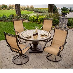Hanover MONACO5PCSW Monaco 5-Piece High-Back Sling Swivel Rocker Dining Set Outdoor Furniture, Size 1, Porcelain/Metallic