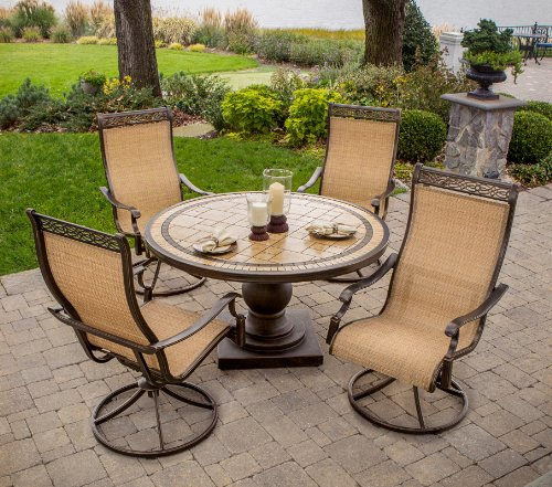 (Hanover MONACO5PCSW Monaco 5-Piece High-Back Sling Swivel Rocker Dining Set Outdoor Furniture, Size 1, Porcelain/Metallic)