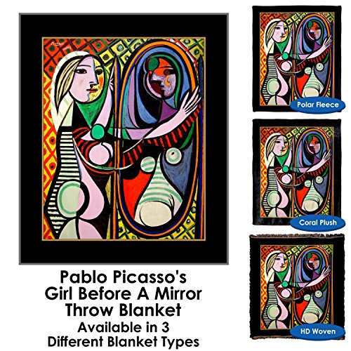 Pablo Picasso's Girl Before A Mirror - Throw Blanket / Tapestry Wall Hanging (Plush Fleece, 50