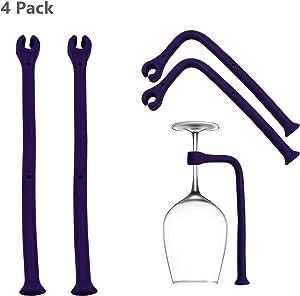 4 Pack Purple Silicone Stemware Saver Flexible Stemware Holder Dishwasher Wine Glass Protector Tether Silicone Dishwasher Attachment Rack for Wine,Champagne Glasses