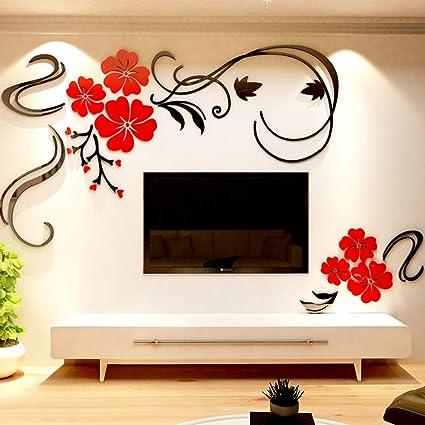 Warmcasa Adesivi da Parete in Acrilico Wall Sticker Disegno Fiori  Decorazione per Soggiorno (S, Rosso Sinistra)