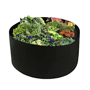 "Xnferty 100 Gallons Extra Large Round Raised Garden Bed, Deep Soil Diameter 38""/Height 20"" Planting Container Grow Bags Durable Felt Fabric Planter Pot for Plants,Vegetables,Flowers (Black)"