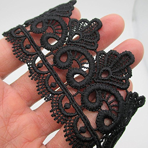 2 Inch Wide Rayon Lace Trim Venise Lace Eyelet Fabric Pack of 14 Yards (Black)