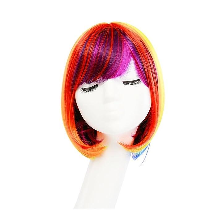 Frcolor Gefälschte Haar Bob Perücken kurze bunte Perücke Regenbogen ...