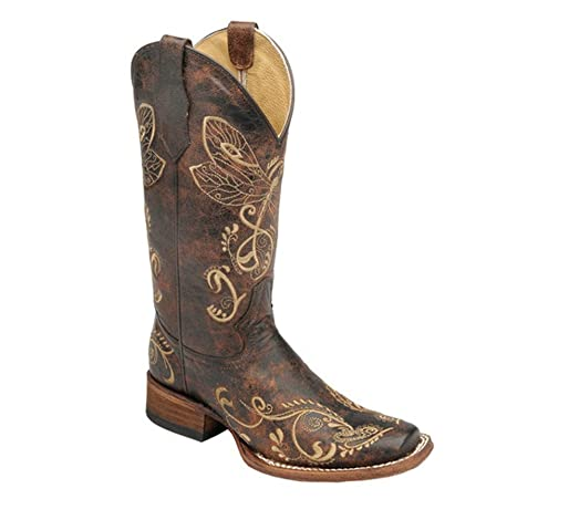 Women's Circle G Distressed Bone Dragonfly Embroidered Square Toe Western Boot