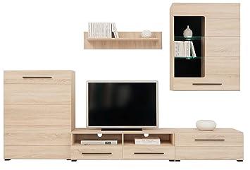 Black Red White ADA Wohnzimmer Eiche Möbel Set Display Wohnwand Moderner TV  Schrank