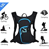 Cycling Bicycle Bike Backpack Biking Water Rucksack Outdoor Daypack 12L Waterproof Lightweight with Reflective Stripe for Running Hiking Cycling Camping Mountaineering Fishing No Water Bladder