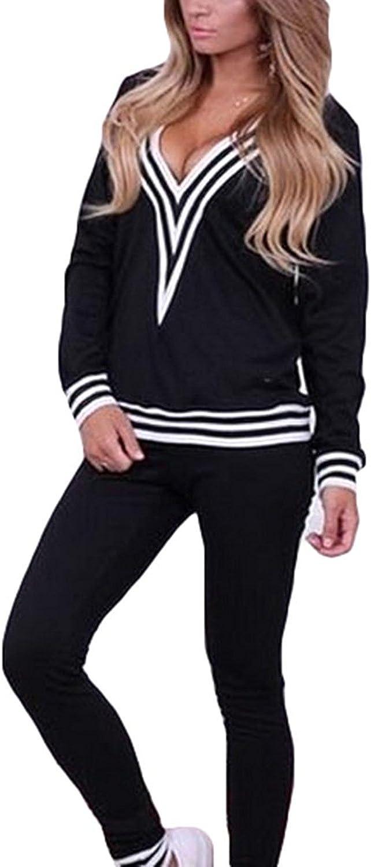 Lannister Tuta Donna Autunno Inverno Elegante Lunga Manica V Neck A Righe Tops Sportive Pantaloni Slim Fit Sportivi 2 Pezzi Casual