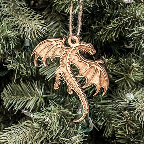 Ornament - Flying Dragon - Raw Wood 4x3in (Tree Christmas Steampunk)