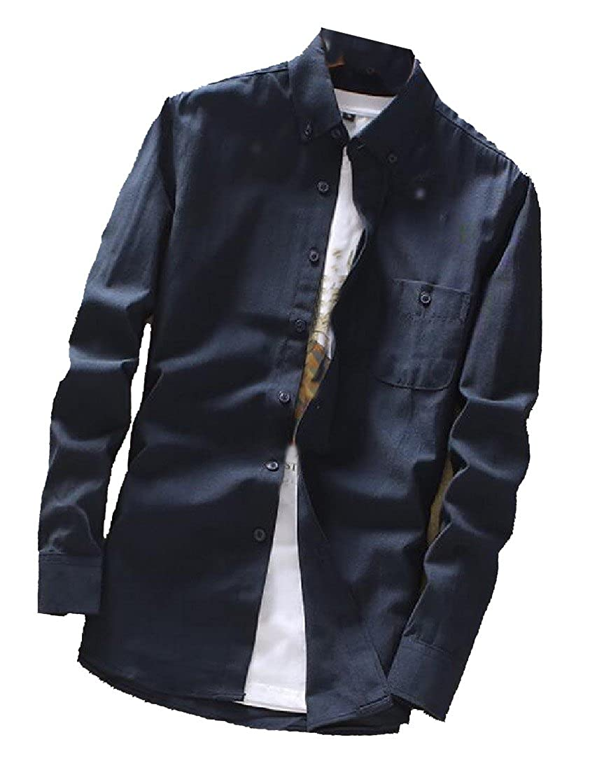 YUNY Mens Casual Slim Fit Long-Sleeve Solid Colored Turn-Down Collar Shirts AS8 XL