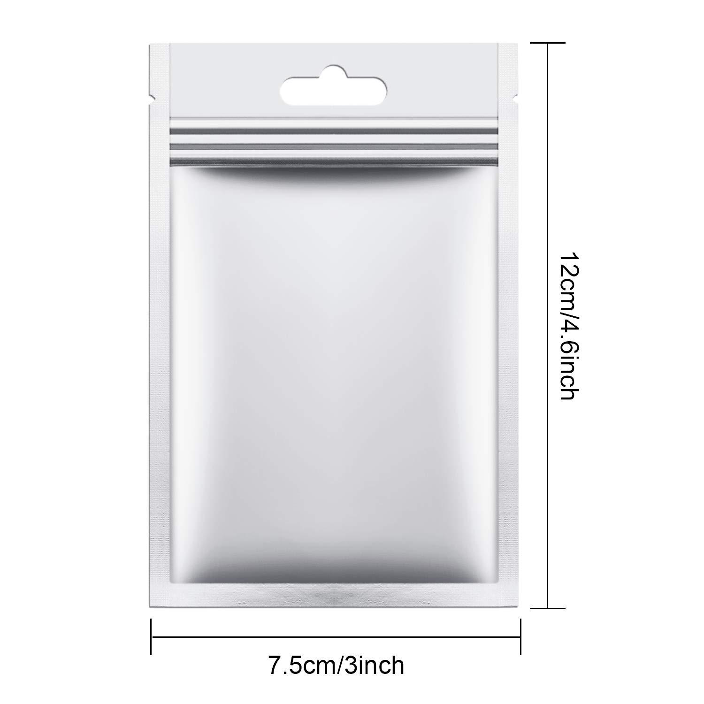 300 Pezzi Sacchetti di Alluminio Borsa Piatta Sacchetti Zip Risigillabili a Doppia Faccia per Forniture per Feste Domestiche 7.5 x 12 cm// 3 x 4.7 Pollici Argenteo