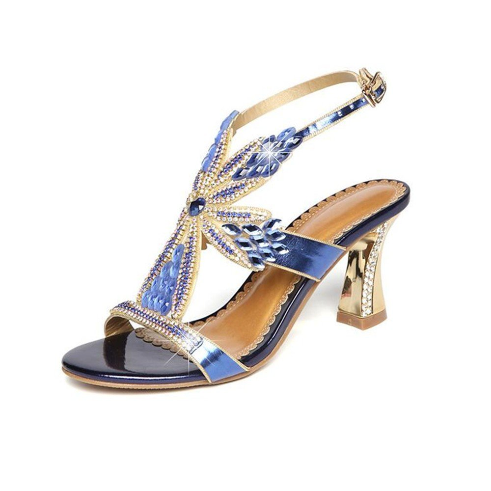Top Shishang Frauen High Heelsdamen - Schuhe mit Hohen Absätzen Sommer Dünn Diamond Leder Diamond Sandalen Sexy Crystal Bequem die Schuhe.