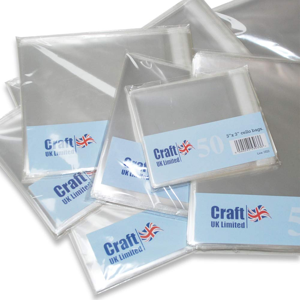 Craft UK 6x6 Poly Bags-50 Pack Card 6 x 6-Inch