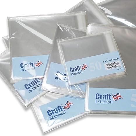 Craft UK - Bolsas de Polietileno, Transparente, 50 Unidades, cartón, Transparente, 6 x 6-Inch