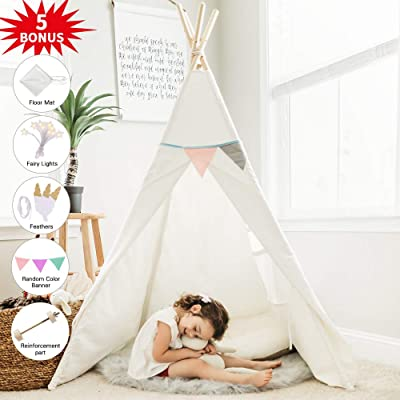HAN-MM Kids Teepee Tent for Kids with Ferry Lights+Floor Mat+Feathers+Random Color Banner+Carry Case, Large Toys for Kids, Raw White Color: Toys & Games