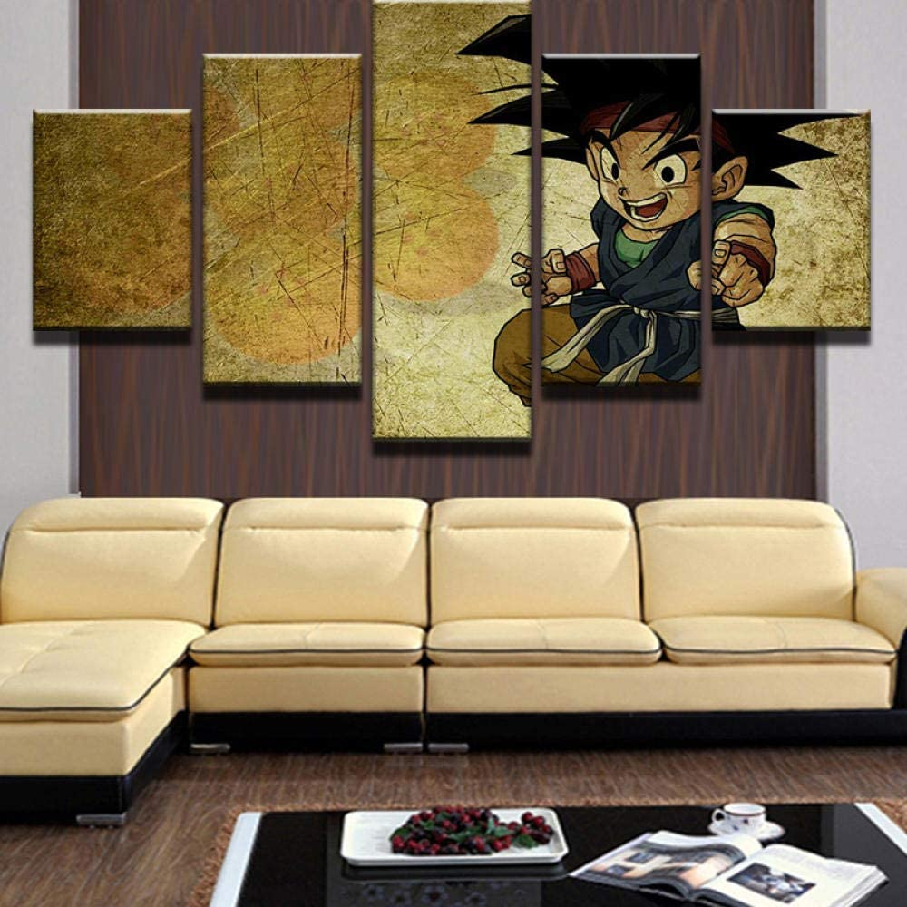 ELLCDRJ Non-Woven Canvas Picture 5 Part Panels Wall Art Print Completely Framed Image Printed Posters Artworks Photo Modules Background Cartoon Little Boy Goku Dragon Ball Painting (ell104)