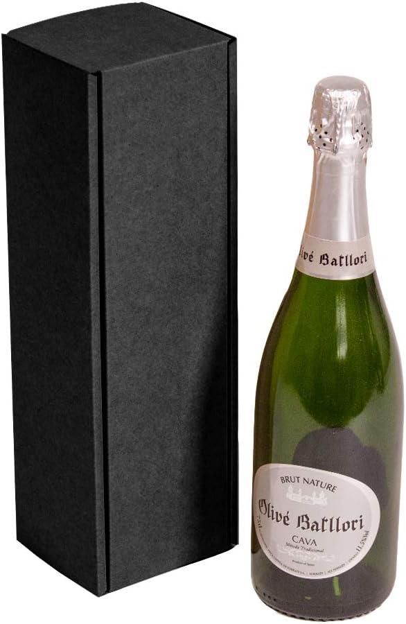 Kartox | Estuche para regalo de 1 botella | Caja de cartón para cava o champagne de color negro | 4 Unidades: Amazon.es: Oficina y papelería