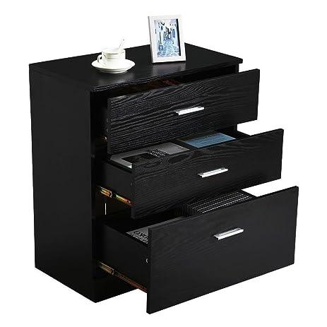 Topeakmart 3 Drawer Black Wood Storage Chest Dresser Bedroom Office Cabinet