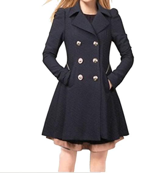 attractive price buying now double coupon SportsX Women's Pure Color Double-Breasted Mid-Long Peplum Trench Coat