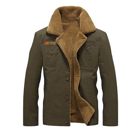 caidi – Chaqueta Militar Cazadora para Hombre cálido Grueso Vintage Abrigo Manga Larga Botón Chaqueta Casual