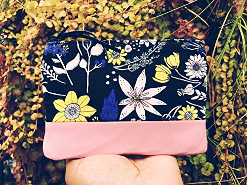 Floral Black Leather Pouch, Coin Purse, Change Wallet