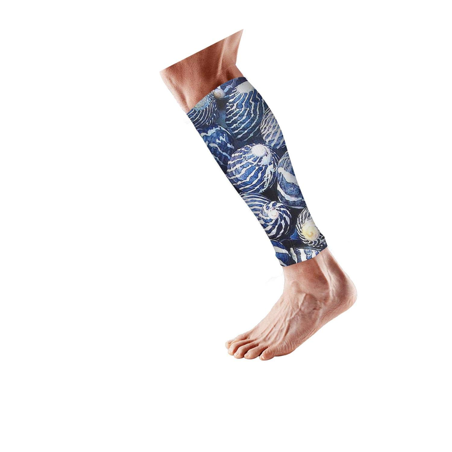 Smilelolly Blue Conch Shell Calf Compression Sleeves Helps Shin Splint Leg Sleeves for Men Women