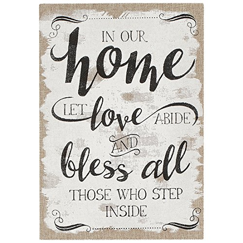 Our Home Love And Bless All 17 X 12 Burlap And Wood Wall Art Sign Plaque