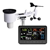 ECOWITT WH2910C Wi-Fi Weather Station Color Display with Wireless Outdoor Solar Powered 7-in-1 Weather Sensor Home Weather Forecast Station