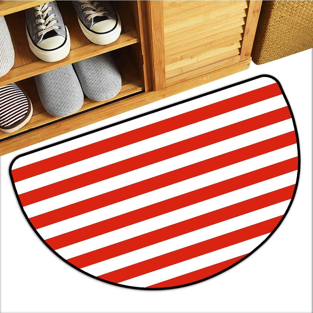 TableCovers&Home Commercial Grade Entrance Mat, Geometric Custom Rugs for Kids Room, Classical Striped Pattern Bold Lines in Horizontal Direction Old Fashioned (Vermilion White, H24 x D36 Semicircle)