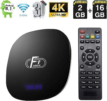 Android TV Box, Android 8.1 TV Box Amlogic S905W Quad-Core Cortex-A53 2GB RAM 16GB ROM Android Box Soporte 2.4G WiFi Ethernet 4K 3D con Control Remoto: Amazon.es: Electrónica